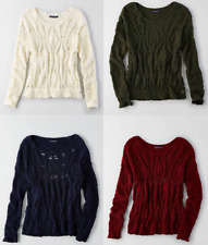 AE American Eagle Women Open Knit Crew Sweater Cream Olive Navy Burgundy NWT