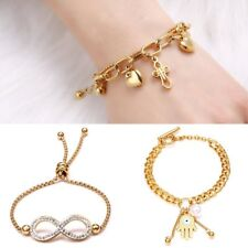 Titanium Crystal Pearl Heart Cross Palm Eye Bangle Bracelet Women Jewelry Gift