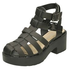 Girls Spot On Casual Heeled Gladiator Sandals
