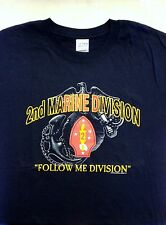 US Marine Corps 2nd Marine Division NAVY BLUE T-Shirt USMC Second Div Size M
