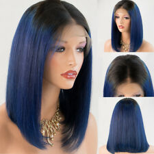 Straight Human Hair Lace Front Wig Blue Indian Remy Short Bob Hair Wig For Women