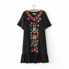 Women Floral Embroidered V-neck Short Sleeve Chiffon Fabric Pleated Dress