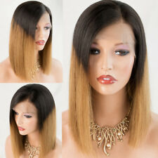 Women's Ombre Blonde Human Hair Lace Front Wigs Short Bob Straight Hair Lace Wig