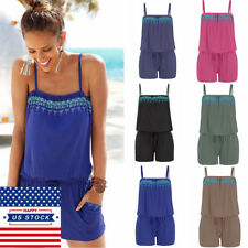 US Womens Solid Jumpsuit Ladies Summer Beach Short Pants Playsuit Romper Holiday