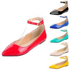 kala Womens Ballerinas Faux Pu Leather Shoes Pointed Toe Ballet Flats Size 2-14