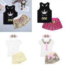 Kids First Birthday Party Romper Bowknot Outfits Sets Baby Girls Tutu Clothes