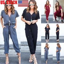 Women Deep V Long Sleeve Belt Loose Pants Jumpsuit Beach Romper Club Playsuit US