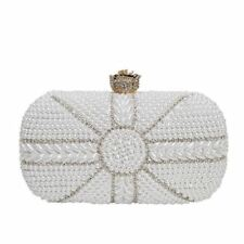 Women New Arrival Black White Color Pearl Beading Draped Evening Party Clutch