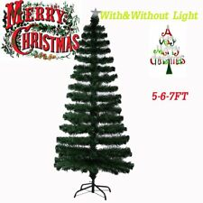 Led & Fibre Optic Christmas Xmas Tree Lights Pre Lit Decoration 5-6-7FT UK