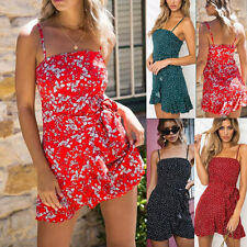 UK Womens Mini Dress Jumper Beach Pleated Strappy Smock Summer Ladies Sun Floral