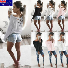 Women Long Sleeve Crew Neck Blouse Loose Casual Tee Top T-Shirt Caged Pullover
