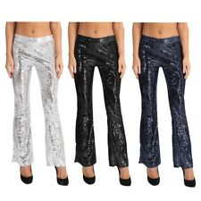 Womens Glitter Sequin High Waisted Trousers Wide Flared Bell Bottom Long Pants
