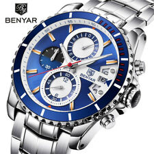 BENYAR Date Mens Quartz Wrist Watch Luxury Stainless Steel Band Military Watches