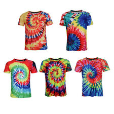 Retro Summer Tie Dye T Shirt Casual Short Sleeve Loose Fit Top for Men Youth