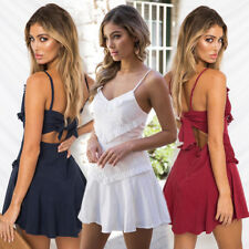 UK Womens Lace Jumper Pleated Beach Cami Ladies Sleeveless Sun Party Mini Dress