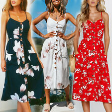 UK Womens Ladies Summer Sleeveless Floral Sun Holiday Jumper Beach Midi Dress