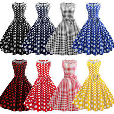 50s 60s Vintage Polka Dot Rockabilly Evening Party Womens Pinup Swing Tea Dress