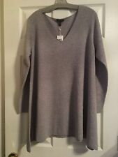 NWT Eileen Fisher Dark Perl Washable Wool Crepe Deep V-neck A-Line Top L XL