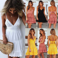 UK Womens Jumper Holiday Sun Beach Sleeveless Summer Ladies Crochet Mini Dress