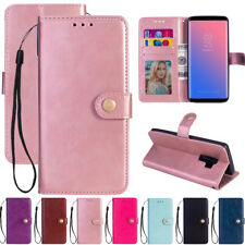 For Samsung S7 S9 A8 A6 Leather Plain Flip Wallet MagneticCard Stand Case Cover