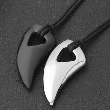 Men's New Black Titanium Steel Wolf Tooth Charm Pendant Necklace Cord For Gift