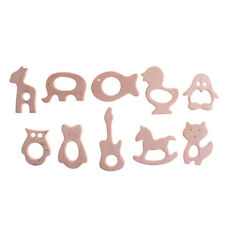 Wooden Safe Natural Cute Animal Shape Ring Baby Teether Teething Shower AT
