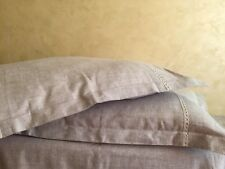 Linen Pillowcase with Flanges and Lace Decor- Queen, King, Euro Pillow Sham