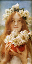 ALMA TADEMA SUMMER OFFERING YOUNG GIRL ROSES ARTIST PAINTING OIL CANVAS REPRO