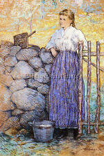WEIR JULIAN ALDEN GIRL STANDING GATE ARTIST PAINTING OIL CANVAS REPRO ART DECO