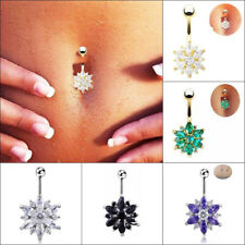 1Pcs Flower Gem Crystal Rhinestone Body Piercing Belly Button Navel Ring Jewelry