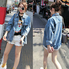 Retro Women Boyfriend Oversize Loose Jacket Casual Denim Jeans Coat Outwear