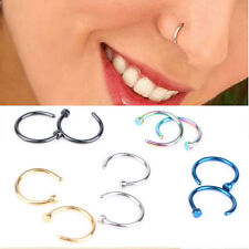 4pcs Nose Open Hoop Ring Lip Earring Body Piercing Studs Stainless Steel Jewelry
