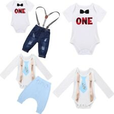 Toddler Baby Infant Boys Cotton Tops Romper+Pants Birthday Outfits Set Clothes