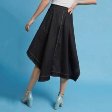Women Formal Style Solid Black Color Pocket Decorated Tie Waist Midi Skirt