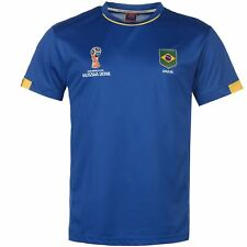 FIFA World Cup 2018 Brazil T-Shirt Mens Blue Football Soccer Tee Shirt