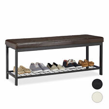 Padded XXL Shoe Storage Bench, Upholstered Shoe Rack with Seat, Faux Leather