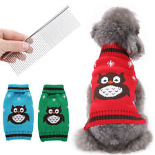Christmas Dog Puppy Cat Owl Ugly Knit Sweater Clothes Xmas Outfit+Pet Hair Comb