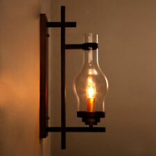 Rustic Country Black Metal Retro Clear Glass Chimney Shade One Wall Light Sconce