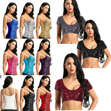 Sexy Women Sequin Bling Vest Bra Crop Top Tube Sleeveless Summer Tank Tops Club