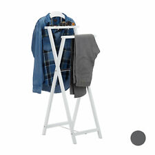 Wooden Valet Stand, Folding Garment Rack, Clothes Holder with Tray