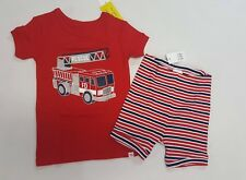 NWT Baby Gap Boys Size 12-18 Months Red Fire Truck Engine Pajamas Pjs