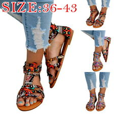 Womens Boho Flat Sandals Printed Ankle Strap Open Toe Sandal Beach Shoes Slipper