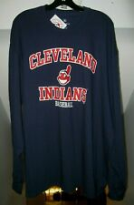 CLEVELAND INDIANS MLB CHIEF WAHOO LOGO NAVY BLUE FANATICS LONG SLEEVE SHIRT NWT