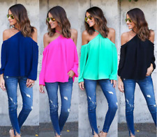 Women Sling Strapless Long Sleeve Short Neck Casual Loose Top Blouse Summer
