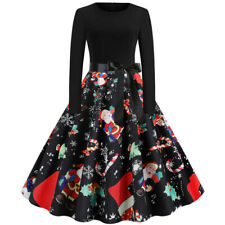 Christmas Women Long Sleeve Dress Vintage Housewife Evening Party Long Dress US
