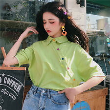 Solid Blouse Short Sleeve Loose Fashion T-shirt Ladies Shirt Women Top Summer