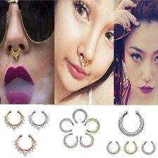 Fashion 1X Fake Clip On Non Piercing Crystal Septum Nose Ring Faux Clicker RCCA