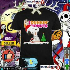 Peanuts Snoopy Dunkin Donuts Christmas Black T Shirt.Best Christmas Gift S-5XL