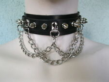 Black Leather Choker, Collar, w/ Spikes and Chain