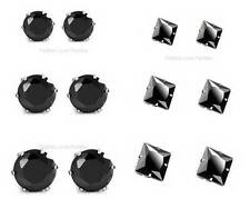 3 PAIRS,Black Round Or Square,Magnetic Cubic Zirconia CZ Stud Earrings Men Women